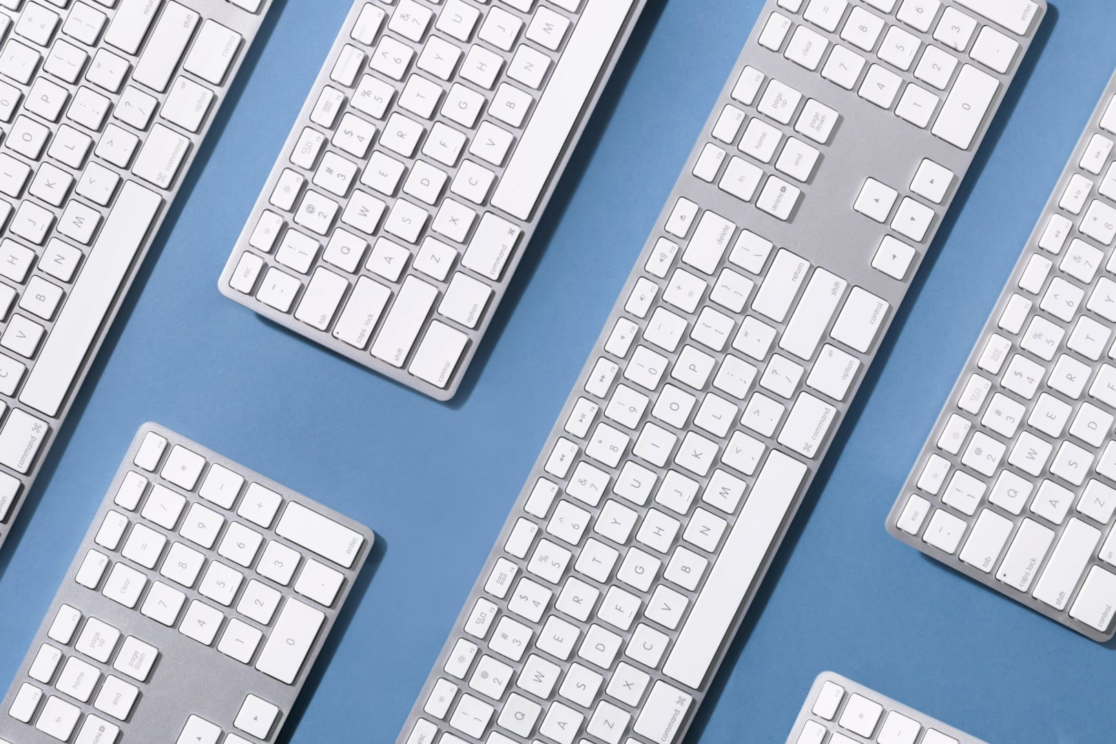 keyboards-on-blue-surface