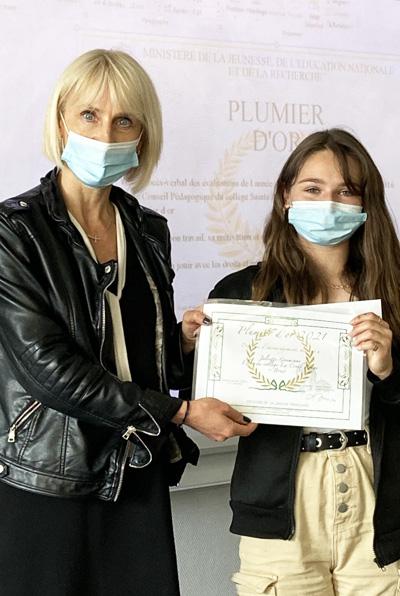 Une lauréate de 4ème au concours Plumier d'or